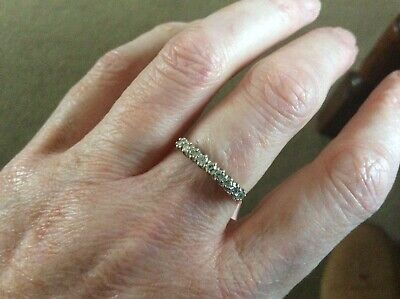 9 Stone Diamond Ring Size M 1/2 In A Platinum Setting. 18 Ct Yellow Gold. Fab • 195£