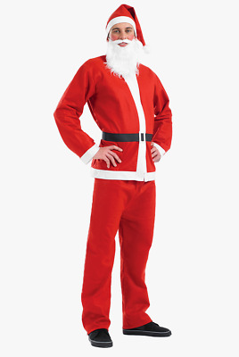 Santa Claus Costume Father Christmas Suit Mens Adult Fancy Dress Outfit • 8.99£