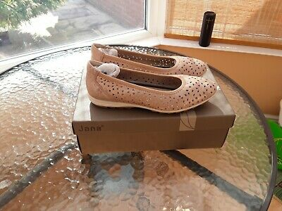 Ladies **new** Jana Leather Slip On Shoes, Size 4g (wide) Pink Metallic • 5£