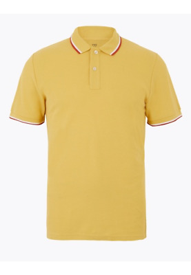 NEW RRP £9.99 Ex Marks And Spencer Blue Harbour Yellow Cotton Polo Shirt • 4.99£