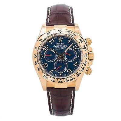 $ CDN41649.57 • Buy Rolex Daytona 116518 18k Gold Blue Arabic Dial Automatic Watch With Paper 40MM