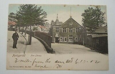 EARLY 1900s  VINTAGE POST CARD - PONTYPRIDD - FREE LIBRARY   (lot 2) • 2.99£