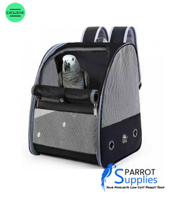 Bird / Parrot Travel Backpack Travel Cage - Black • 39.99£