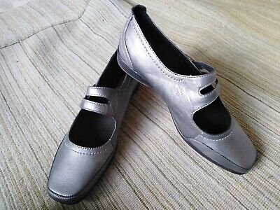 Leather Shoes Size 6 - Pediconfort - Metallic Pewter Grey - NEW • 10£