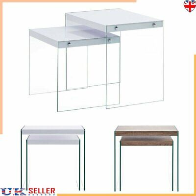 Nest Of 2 Coffee Table Side End Table Set Living Room Furniture Tempered Glass • 80.69£