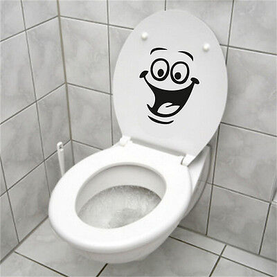 Smile Face WC / Toilet Decal Wall Mural Art Decor Funny Bathroom Sticker Vi Cela • 1.83£