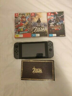 AU499 • Buy Gray Nintendo Switch With 64GB Sd ,Zelda BOTW, Monster Hunter And Mario Odyssey