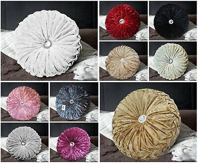 Luxury Crushed Velvet Cushions Diamante Chic Small & Large Round Filled Cushion • 12.99£
