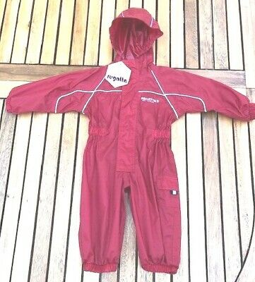 REGATTA Kids Red Waterproof Puddle Splash Suit All-In-One Age 6-12 Months 1 Year • 12£