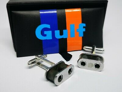 Gulf Porsche 911 991 RSR WEC Le Mans Timing Chain Cufflinks. Car Part Gifts • 24.95£