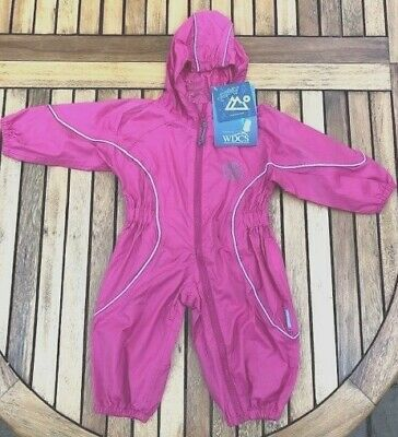 BNWT Girls Pink Waterproof Puddle Splash Suit All In One Age 6-12 Months 1 Year • 12£