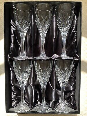 Royal Doulton Set Of 6 Cicant Lead Crystal Wine Goblets • 20£