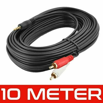 10M Gold 3.5mm Stereo Audio Jack To 2 X Twin Male RCA Phono Plugs Cable Lead • 3.59£