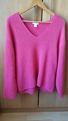 H&M 100%Cotton Pink Slouchy Knit Jumper Size S • 15£