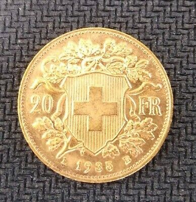 $425 • Buy 1935 Helvetia Swiss 20 Franc Gold Coin