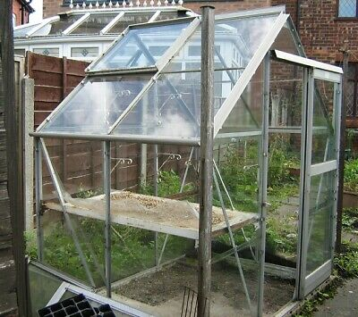Greenhouse With Aluminium Frame And Glass 6' X 4' Used Collection Only • 50£