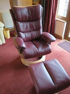 Himolla Reclining Swivel Chair And Foot Stool, In Burgundy Soft Leather • 545£