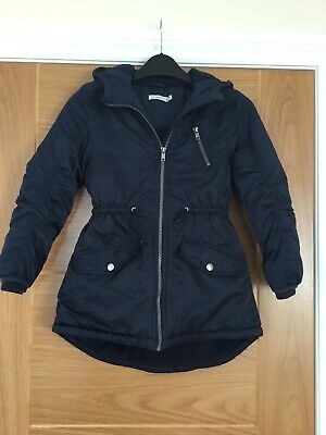 Girls Navy Blue Fleece Lined Hooded Jacket By Blue Zoo, Age 7-8yrs • 3£