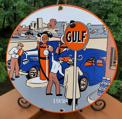 $ CDN133.34 • Buy Vintage Porcelain Gulf 1938 Gas And Oil Sign