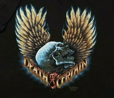 $ CDN201.08 • Buy Vintage 1987 3D Emblem Just Brass Death Is Certain Skull 50/50 USA Large Shirt