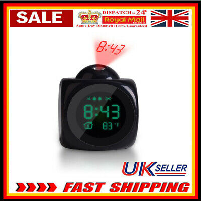 Alarm Clock LED Wall/Ceiling Projection LCD Digital Voice Talking Temperature • 8.59£