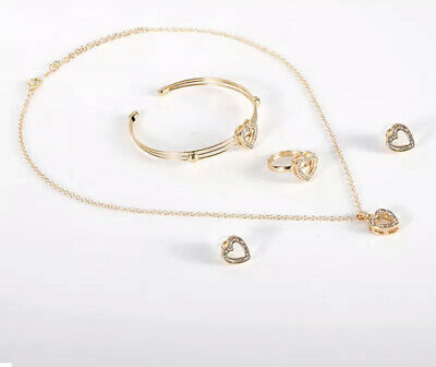 Women's Jewellery Set Swarovski Elements Crystals Gold Plated Ring Earrings New • 7.99£