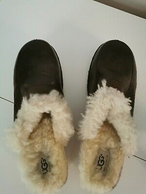 Ugg Brown Leather Sheepskin Lined Clogs 7.5. Never Worn, Vgc  • 28£