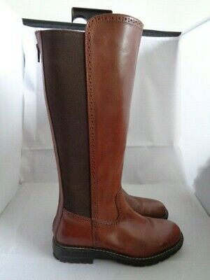 Pavers Brown 100% Leather Stretch Fit Knee Boots Size 5 Excellent • 39.99£