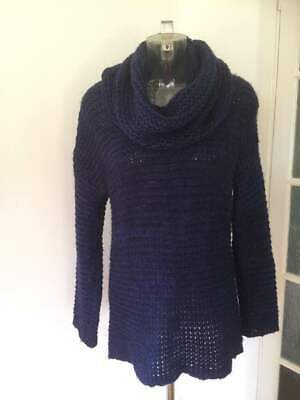 Topshop Blue Slouchy Roll Neck Jumper Chunky Knit Mohair Mix Size 10 • 5.99£