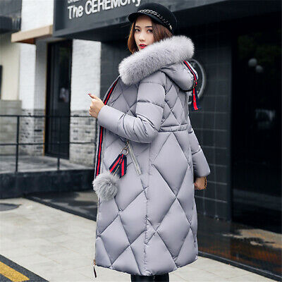 UK Winter Women Coat Cotton Jacket Ladies Fur Hooded Jackets Long Puffer Parka • 22.88£