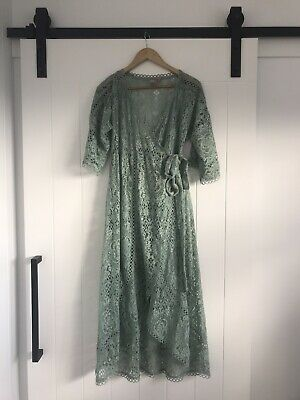 AU15 • Buy Asos Maternity Dress 12 Green Lace Perfect For Photo Shoot Prop Glam