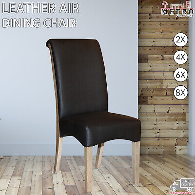 AU458 • Buy 2, 4, 6, 8 Dining Chair Leather Air Solid Wooden Legs, Black Color, Kitchen,Cafe