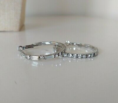 Large Hoop Sparkly Crystals Silver Tone Pierced Earrings Diamante Statement  • 3£