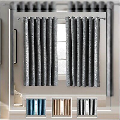 Thermal Insulated Blackout Curtains Ring Top Short Window Curtains With Tiebacks • 19.95£