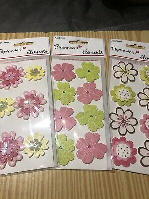 BNWT  3 Packs Papermania Flower Toppers Embellishments Card Making • 1.50£