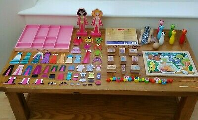 Wooden Toy Bundle Age 3 / 4 + Magnetic Dress-up, Stamps Etc Three/four Year Old • 30£