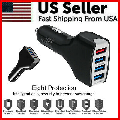 $ CDN6.11 • Buy 4 Port USB QC 3.0 Fast Car Charger For Samsung IPhone LG Google Moto Cell Phone