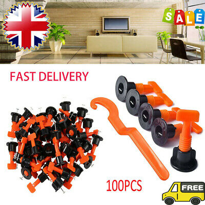100PCS Floor Wall Tile Leveler Construction Reusable Leveling System Tools Kit • 12.99£