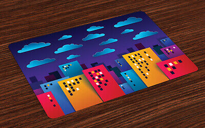 £16.99 • Buy Urban Art Place Mats Set Of 4 Colorful Business Skyline