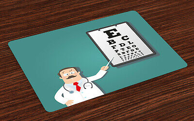 Eye Chart Place Mats Set Of 4 Optician Doctor Snellen • 16.99£