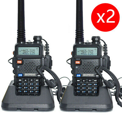 2X Baofeng UV-5R Walkie Talkie VHF/UHF 2 Way Radio 128CH Dual Band+ Headset • 35.99£