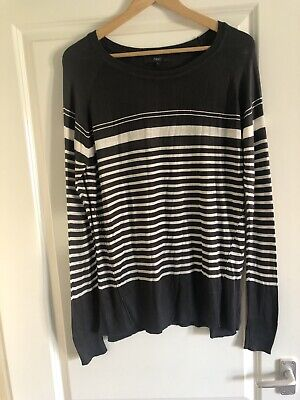 Next Fine Knit Striped Slouchy Jumper Size 12 Very Good Condition • 3£