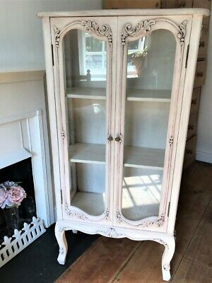 French Antique Style Vintage Shabby Chic Glass Display Cabinet • 150£