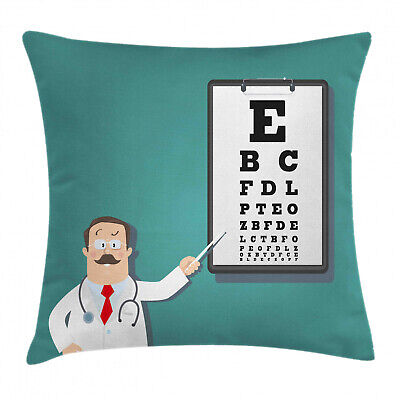 Eye Chart Throw Pillow Cushion Cover Optician Doctor Snellen • 20.99£