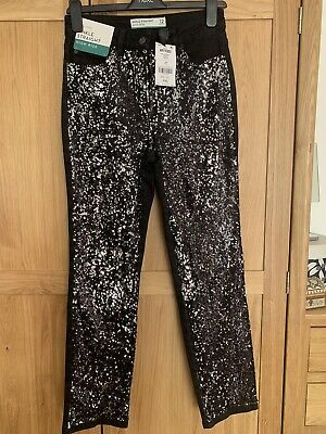 Bnwt Next Black Sequin Straight Ankle Jeans Size 8r • 5.99£
