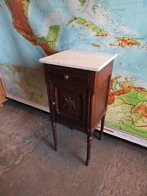Pretty Oak And Marble Antique Carved French Country Bedside Cabinet Table. • 119£