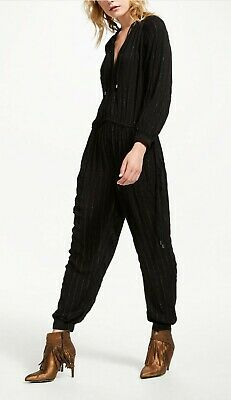 And/Or John Lewis Jumpsuit Made In India. Black And Silver/metallic Stripes • 25£