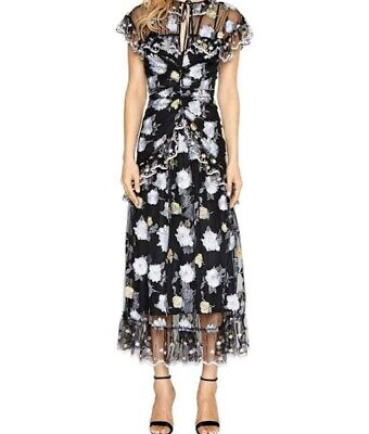 AU110 • Buy Brand New Alice Mccall Floating Delicately  Black Floral Dress Size 6 RRP$550