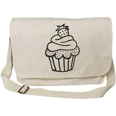 'Cupcake With Strawberry' Cotton Canvas Messenger Bags (MS003464) • 14.99£