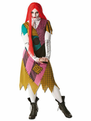 Adult Nightmare Before Christmas Sally Ladies Fancy Dress Costume With Red Wig • 19.99£
